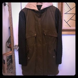 Zara Olive green leather sleeve jacket